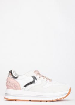 Белые кроссовки Voile Blanche Maran Studs с розовым задником, фото