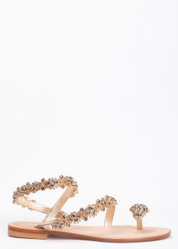 Золотистые сандалии Eddicuomo со стразами на ремешках, фото