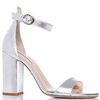 Серебристые босоножки Fabio Rusconi на высоком каблуке, фото