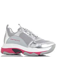 Серые кроссовки Fornarina с серебристыми вставками, фото