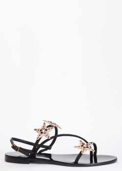 Черные сандалии Eddicuomo с ламинированным эффектом, фото