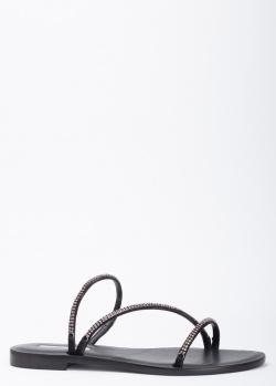 Кожаные шлепанцы Eddicuomo со стразами, фото