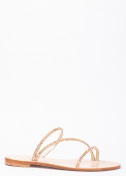 Бежевые шлепанцы Eddicuomo с тонкими ремешками в стразах, фото