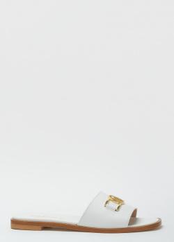 Белые шлепанцы Nila&Nila с фирменным декором, фото