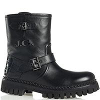 Черные ботинки John Galliano с тиснением кроко и декором из ремешков, фото