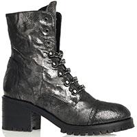 Женские ботинки Fru.It серебристые декорированные цепочками, фото