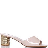 Бежевые мюли Donna Serena на золотистом каблуке, фото