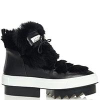 Низкие ботинки Albano с декором из меха и белой полосой, фото