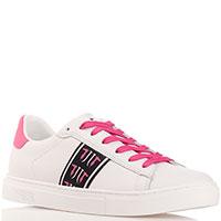 Кеды белые Trussardi Jeans с розовой шнуровкой, фото