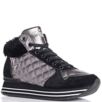 Высокие кроссовки Trussardi Jeans серого цвета с черными вставками, фото