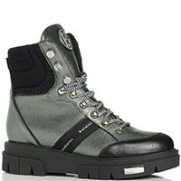 Утепленные ботинки Baldinini серого цвета с зеленым отливом, фото