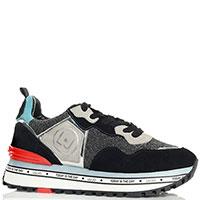 Замшевые кроссовки Liu Jo с серебристыми вставками, фото