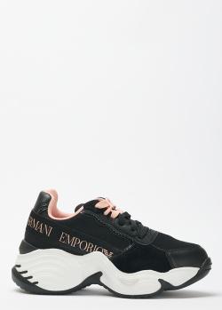 Черные кроссовки Emporio Armani на массивной подошве, фото