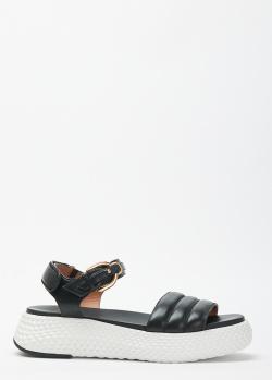 Черные сандалии Emporio Armani из мелкозернистой кожи, фото