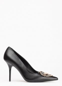Черные лодочки Love Moschino с декором на носке, фото