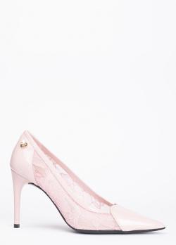 Розовые лодочки Love Moschino с кружевом, фото