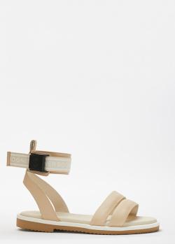 Бежевые сандалии Bogner с фирменной надписью, фото