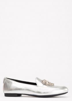 Серебристые лоферы Love Moschino с декором, фото