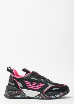 Черные кроссовки Emporio Armani с яркими вставками, фото