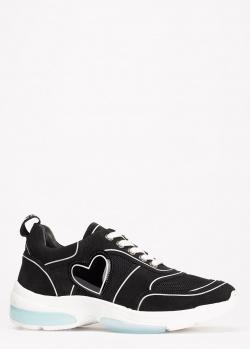 Черные кроссовки Love Moschino с белой строчкой, фото