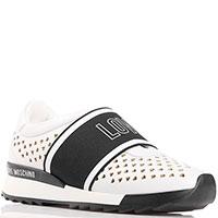 Белые кроссовки Love Moschino с перфорацией-сердцами, фото