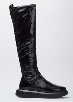 Лакированные ботфорты Love Moschino черного цвета, фото