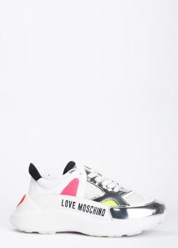 Белые кроссовки Love Moschino с серебристыми вставками, фото