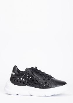 Черные кроссовки Love Moschino с перфорацией в форме сердца, фото