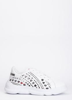 Белые кроссовки Love Moschino с перфорацией, фото