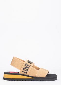 Сандалии Love Moschino золотистого цвета с широкими ремешками, фото