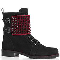 Замшевые ботинки Loriblu со стразами и красной вставкой, фото
