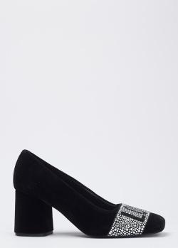 Бархатные туфли Love Moschino на каблуке, фото