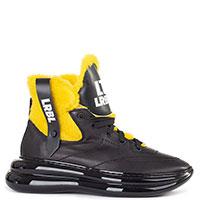 Черные ботинки Loriblu с желтым мехом, фото