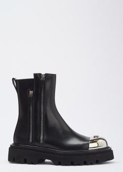 Кожаные ботинки Casadei с двумя молниями, фото