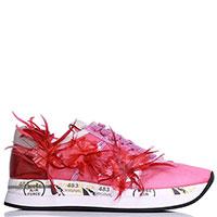 Розовые кроссовки Premiata с декором-перьями, фото