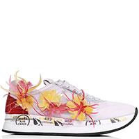 Кроссовки Premiata белого цвета с декором-перьями, фото