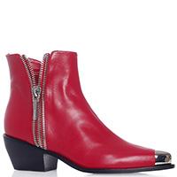 Красные ботильоны Le Silla с металлическим декором на носке, фото