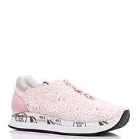 Светло-розовые кроссовки Premiata с завитками из текстиля, фото