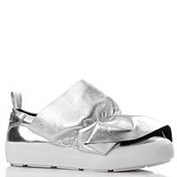 Серебристые слипоны MSGM с декором на носке, фото