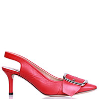 Красные туфли-слингбэки Casadei с декором-пряжкой, фото