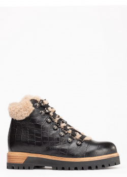 Черные ботинки Le Silla на меху с тиснением кроко, фото
