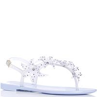 Голубые сандалии Menghi с флористическим декором, фото