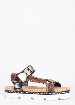 Разноцветные сандалии Casadei из текстиля, фото