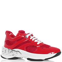 Красные кроссовки Casadei с декором-цепью, фото