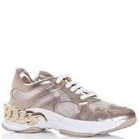 Золотистые кроссовки Casadei на толстой подошве, фото