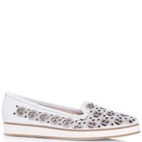 Белые туфли Baldinini с декором-стразами, фото