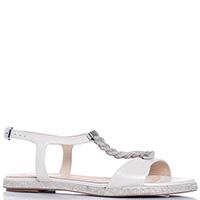 Белые сандалии Baldinini с декором-косичкой, фото