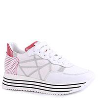 Кроссовки L4K3 в белом цвете с розовой пяткой, фото