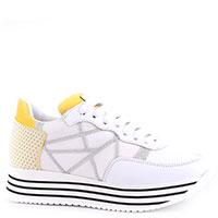 Белые кроссовки L4K3 с желтыми вставками, фото