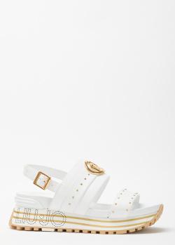 Белые сандалии Liu Jo с логотипом на подошве, фото